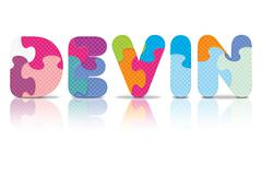 Vector devin written with alphabet puzzle Stock Illustration