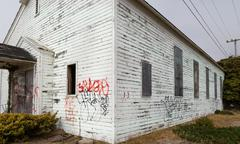 Abandoned Church Defaced with  Graffiti Stock Photos
