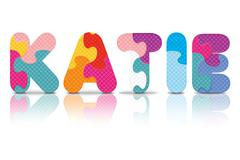 Vector katie written with alphabet puzzle Stock Illustration