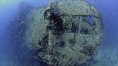 Large shoal of fish, world war 2 shipwreck - SS Thistlegorm - HD1080p 29.97fps Stock Footage
