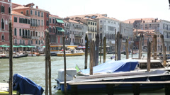 view of boats on canal grande, venice - stock footage
