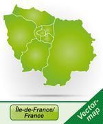 Map of ile-de-france Stock Illustration