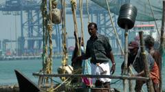 India Kerala Kochi Cochin City 016 traditional Chinese fishing nets - stock footage