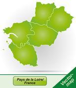 map of pays de la loire - stock illustration