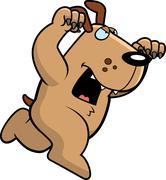 Stock Illustration of cartoon dog attacking