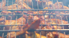 Barbecue. chicken on the grill. Stock Footage