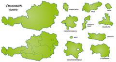 map of austria with borders in green - stock illustration