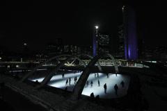 Skating at Nathan Phillips Square  2 Stock Footage