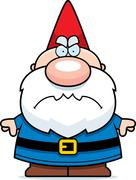 cartoon angry gnome - stock illustration