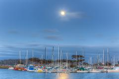 Full Moon Over Moss Landing Harbor - stock photo