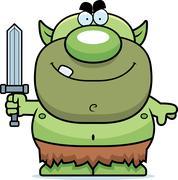 Stock Illustration of cartoon goblin sword