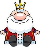 Cartoon king sitting Stock Illustration