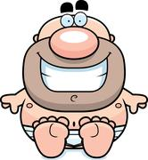 man in underwear sitting - stock illustration