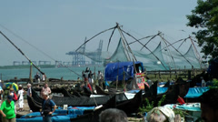India Kerala Kochi Cochin City 015 traditional Chinese fishing nets - stock footage