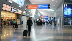 Passengers inside of McCarran international airport interior in Las Vegas, USA. Stock Footage