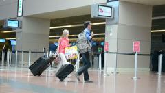 Passengers, McCarran international airport interior in Las Vegas, USA. Stock Footage