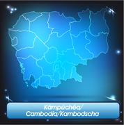 Stock Illustration of map of cambodia with borders with bright colors