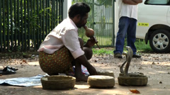 India Kerala Kochi Cochin City 011 snake charmer in Fort Kochi Stock Footage