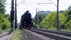 Retro steam locomotive with wagon line in Kiev, Ukraine Stock Footage
