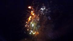 Stock Video Footage of fiery bunch celebratory fireworks