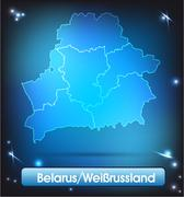 Stock Illustration of map of belarus with borders with bright colors
