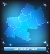 Stock Illustration of map of midi-pyrenees with borders with bright colors