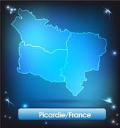 Map of picardie with borders with bright colors Stock Illustration