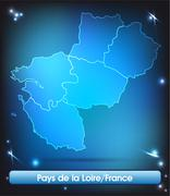 map of pays de la loire with borders with bright colors - stock illustration