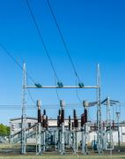 a small high-voltage distribution plant - stock photo