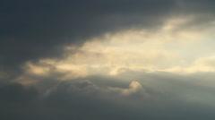 Rays of Sun Beam through Grey Rain Clouds - 29,97FPS NTSC - stock footage