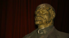 Sculpture, monument to Vladimir Lenin in the warehouse. Stock Footage