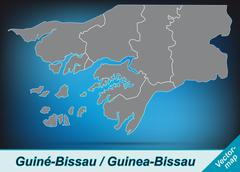 Stock Illustration of map of guinea bissau with borders in bright gray