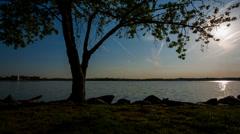 Waterfront Park Crane shot 1080 Stock Footage