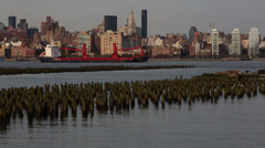 Oil Tanker at the New York City Skyline Stock Footage