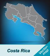 Map of costa-rica with borders in bright gray Stock Illustration