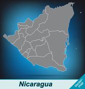 Stock Illustration of map of nicaragua with borders in bright gray