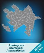 Stock Illustration of map of azerbaijan with borders in bright gray