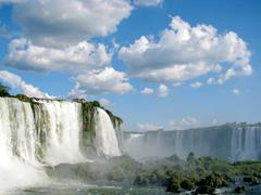 iguazu waterfalls in brazil on a sunny day, seen from the brazilian side. - stock photo