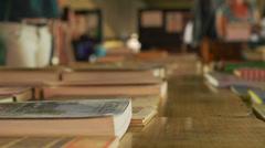 Books, SouthBank Market London (closer) - stock footage