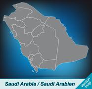 Map of saudi arabia with borders in bright gray Stock Illustration