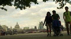 Southbank London sunset Stock Footage