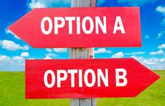 Stock Photo of option a and b