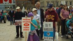 Pro Life Anti Abortion Protestors - Children protesting - stock footage