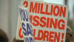 Pro Life Anti Abortion Protestors - Missing children signs Stock Footage