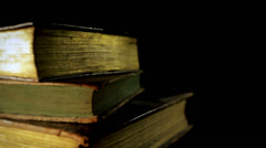 Ancient books in a bookshelf Stock Footage