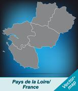 map of pays de la loire with borders in bright gray - stock illustration