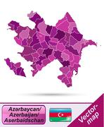 Stock Illustration of map of azerbaijan with borders in violet