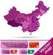 Stock Illustration of map of china with borders in violet