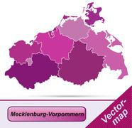Map of mecklenburg-western pomerania with borders in violet Stock Illustration