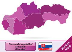 map of slovakia with borders in violet - stock illustration